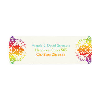 Rainbow colors damask wedding return address label
