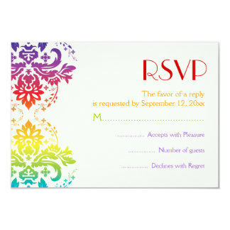 Rainbow colors damask wedding RSVP Personalized Announcements
