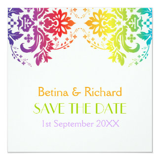 Rainbow colors damask wedding Save the Date Card