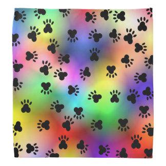 Rainbow colors Dog paw print Bandana