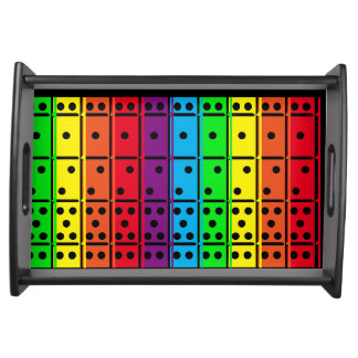 Rainbow Colors Dominoes Design Serving Tray