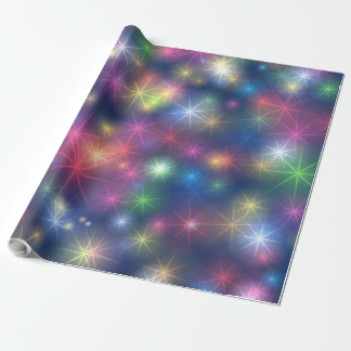Rainbow Colors Festive Christmas Stars Wrapping Paper