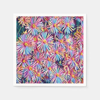 Rainbow Colors Flowers Paper Napkin