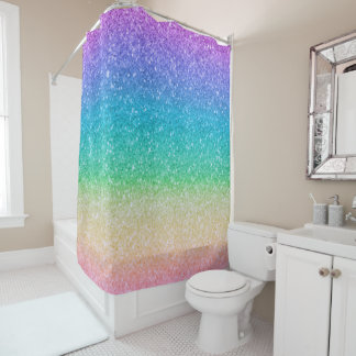Rainbow Colors Glitter Sparkle Girly Glam Colorful Shower Curtain