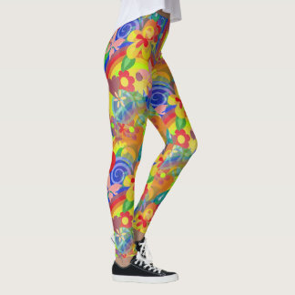 Rainbow Colors of Flower Power Leggings
