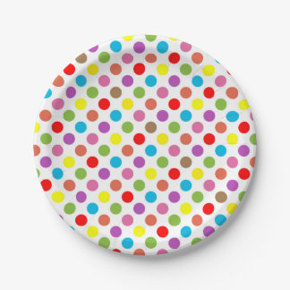Rainbow colors polka dots pattern 7 inch paper plate