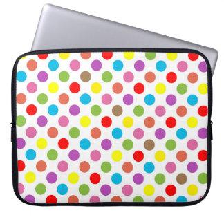 Rainbow colors polka dots pattern laptop sleeve