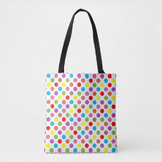 Rainbow colors polka dots pattern tote bag