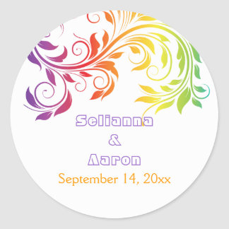 Rainbow colors scroll leaf wedding Save the Date Classic Round Sticker