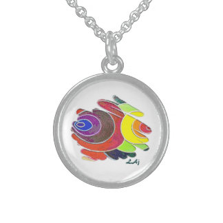 Rainbow Colors Spirals on White Round Necklace