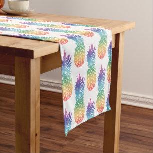 Rainbow colour tropical pineapple fruit pattern short table runner