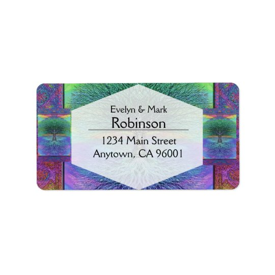 Rainbow Coloured Blue and Green Tree Label