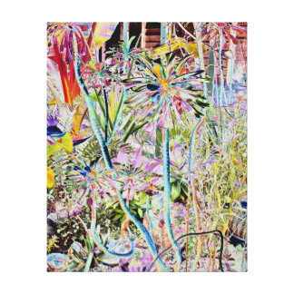 Rainbow coloured garden stretched canvas prints