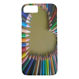 Rainbow Coloured Pencil Heart Phone Case