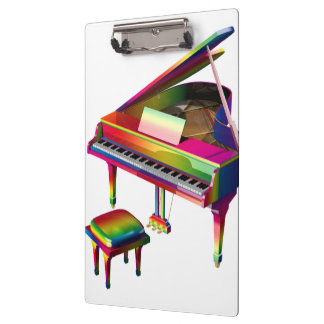 Rainbow Coloured Piano Clipboard
