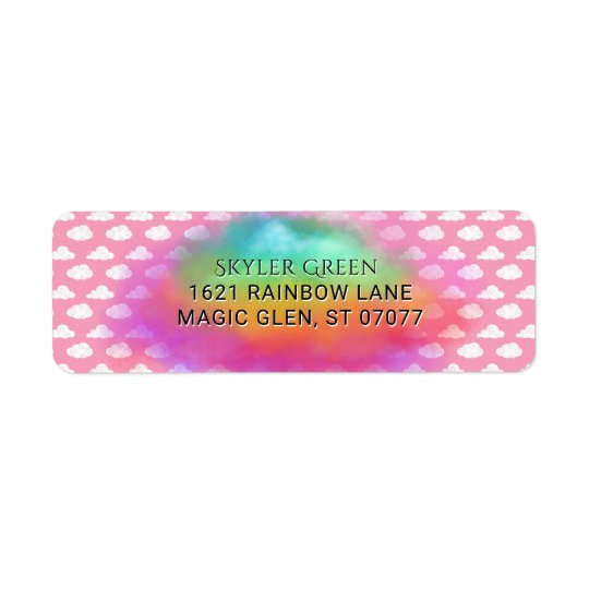 Rainbow Colours Clouds Watercolor Pink Birthday Return Address Label