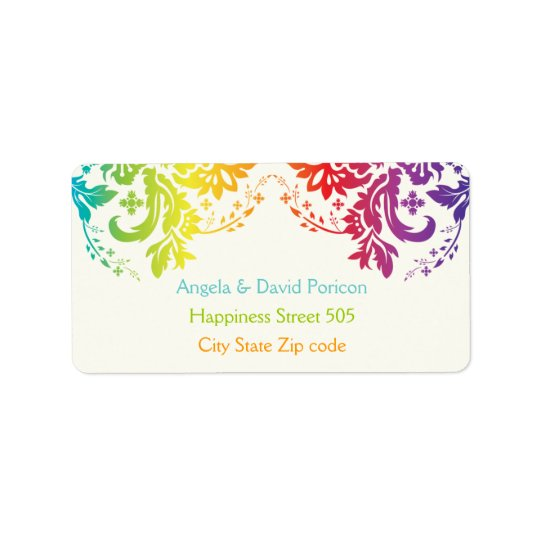 Rainbow colours damask request 1 address label