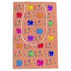 Rainbow Colours Happy Cartoon Elephants Birthday Medium Gift Bag