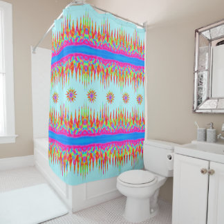Rainbow Colours Magic Mountains And Six Stars Shower Curtain