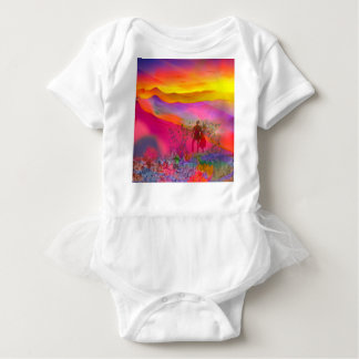 Rainbow colours show all at once. baby bodysuit
