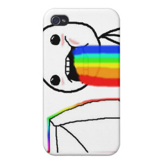 Rainbow Computer face iPhone 4 Cases