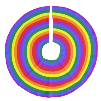 Rainbow Concentric Circles Faux Linen Tree Skirt