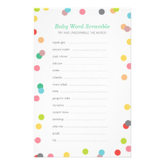 Rainbow Confetti Baby Word Scramble Game Stationery