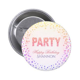 Rainbow Confetti Glitter Happy Birthday 6 Cm Round Badge