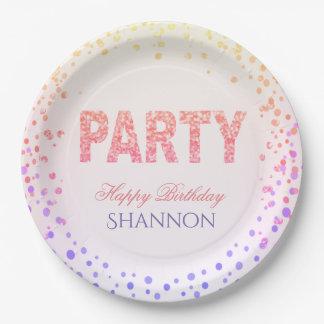 Rainbow Confetti Glitter Happy Birthday 9 Inch Paper Plate