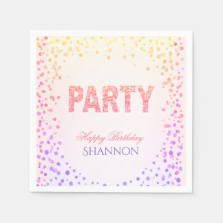 Rainbow Confetti Glitter Happy Birthday Disposable Napkin