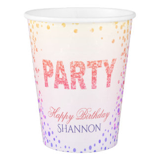 Rainbow Confetti Glitter Happy Birthday Paper Cup