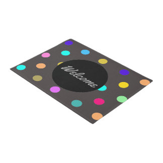 Rainbow confetti polka dot door mat