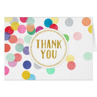 Rainbow Confetti Thank You Card Faux Gold Glitter