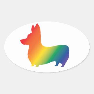 Rainbow corgi oval sticker
