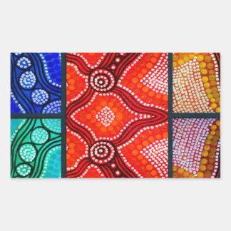 Rainbow Corroboree Panel Rectangular Sticker