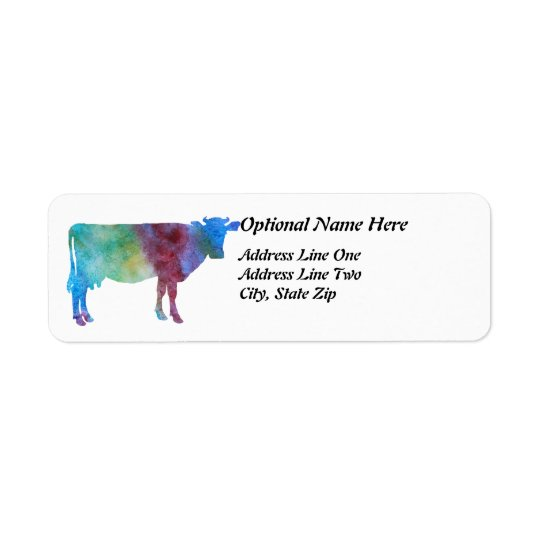 Rainbow Cow With Customisable Text Return Address Label