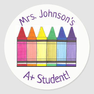 Rainbow Crayon Personalized A+ Student Art Teacher Classic Round Sticker