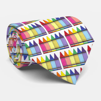 Rainbow Crayons School Art Teacher Coloring Pride Tie