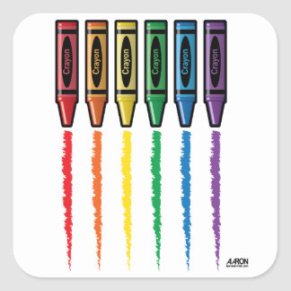 Rainbow Crayons Square Sticker