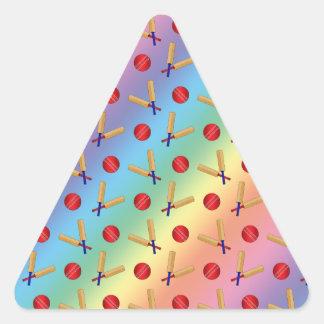 Rainbow cricket pattern triangle sticker