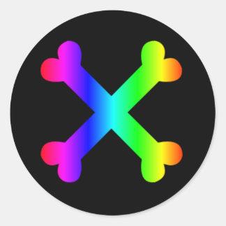 Rainbow Crossed Bones sticker