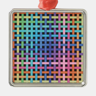 Rainbow Crossed Pattern Silver-Colored Square Decoration
