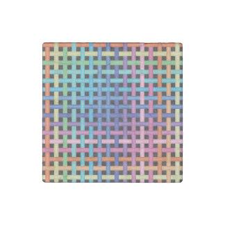 Rainbow Crossed Pattern Stone Magnet