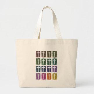 Rainbow crosses jumbo tote bag