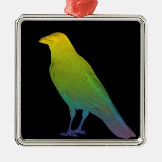 Rainbow Crow Metal Ornament