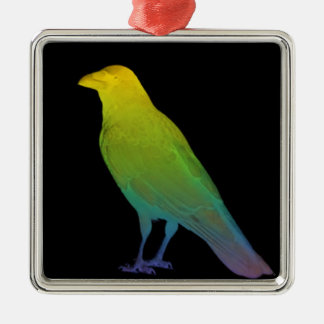 Rainbow Crow Silver-Colored Square Decoration