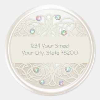 Rainbow Crystal and Pearl Damask Return Address Round Sticker