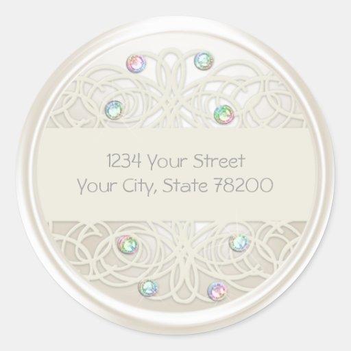 Rainbow Crystal and Pearl Damask Return Address Sticker
