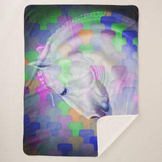Rainbow Cubism Equine Art Sherpa Blanket
