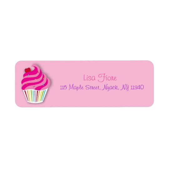 Rainbow Cupcake Baby Girl Address Labels